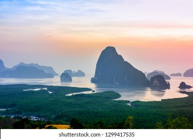 Samed Nang Chee, mountain view point at Phangnga province, beautiful landscape in thailand
