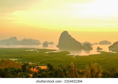 Samed Nang Chee, mountain view point at Phangnga province, beautiful landscape in thailand,