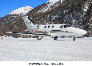 Samedan/Switzerlad:   Cessna 510 Citation Mustang at Engadin Airport in Samedan/Switzerland 18.02.2017