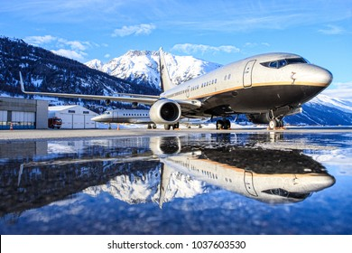 Samedan/Switzerlad:Boeing 737-7BC (BBJ) VP-BRT at Engadin Airport in Samedan/Switzerland 28.02.2017