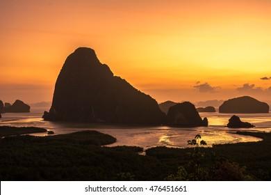Sa-met-nang-she new landmark in Phang nga ,Thailand beautiful sunrise