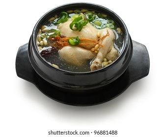samgyetang, chicken soup with ginseng, korean food
