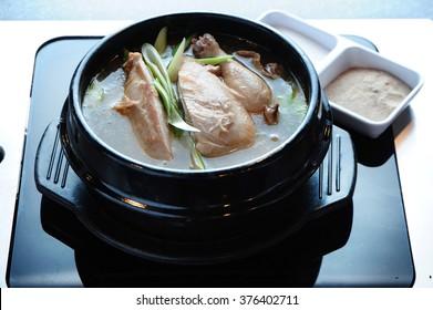 samgyetang - Ginseng Chicken Soup, Korean Dish korean favorite hot bowl menu