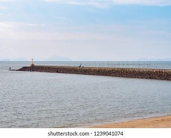 Sami Beach in Tamashima, Kurashiki City, Okayama Prefecture, Japan. Sami Beach was Japan's first public swimming beach and has been selected as one of Japan's 100 best.
