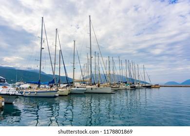 Sami, Kefalonia, Greece/ August, 2018: Port of Sami with sailing boats in Kefalonia, Greece