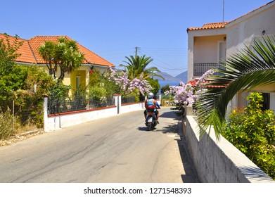 Sami street  view. Kefalonia, Greece
