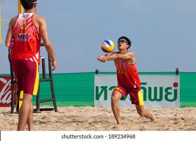 SAMILA BEACH, SONGKHLA, THAILAND - APRIL 14: Samila-Chang AVC Beach Volleyball Tour-Samila Open 15th. 14-18 April 2014. Samila beach,Songkhla, Thailand