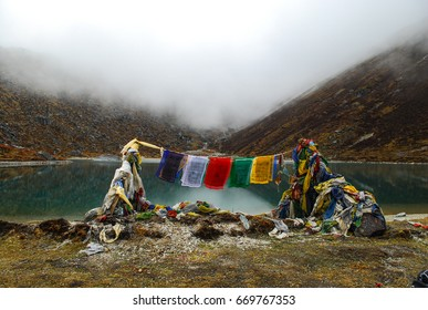 Samity lake. Goche-la pass trek, Sikkim himalaya. Kanchenjunga area. India.