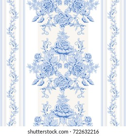 Samless background with borders. A bouquet french roses and striped backdrop.