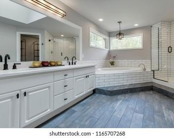 Sammamish, WA / USA - Aug. 22, 2018: Modern bathroom interior