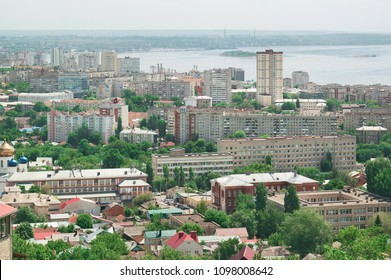 Sammer panoramic view from a height to the city of the Saratov and the Volga River coastline