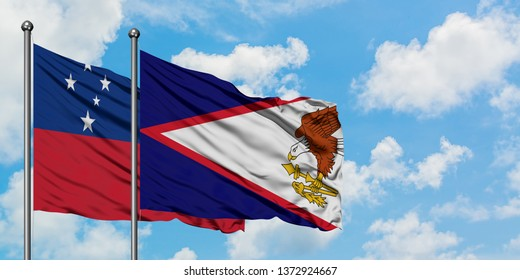 Samoa and American Samoa flag waving in the wind against white cloudy blue sky together. Diplomacy concept, international relations.