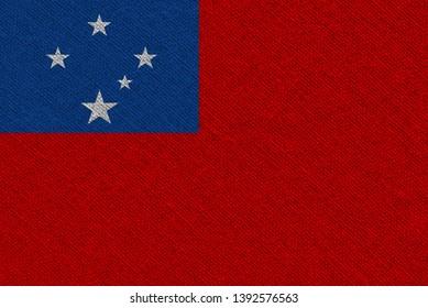 Samoa fabric flag. Patriotic background. National flag of Samoa
