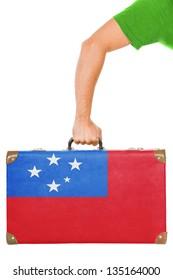 The Samoa flag on a suitcase. Isolated on white.