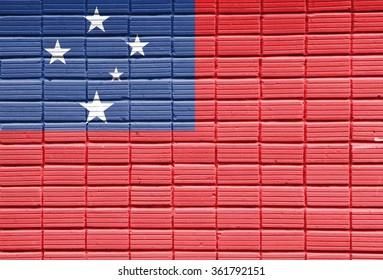 samoa Flag painted on brick wall