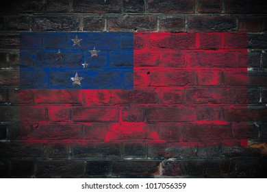 Samoa flag painted on dark_old_grungy_brick_wall texture background