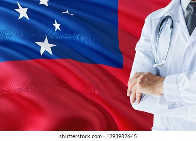 Samoan Doctor standing with stethoscope on Samoa flag background. National healthcare system concept, medical theme.