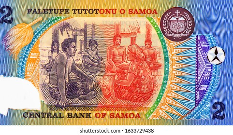 Samoan family scene in Samoan Fale (house) Portrait from Samoa 2 Tala 1990 Polymer Banknotes. An Old Polymer banknote, vintage retro. Famous ancient Banknotes. Collection.