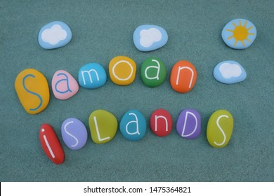 Samoan Islands, souvenir with a composition of colored stones over green sand