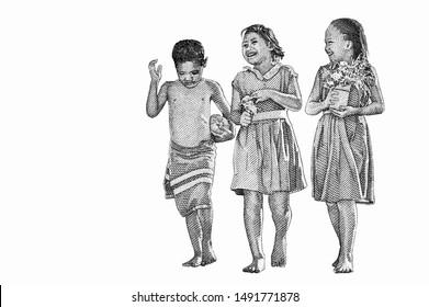 Samoan school children walking to school. Portrait from Samoa 10 Tala 2008 Banknotes.