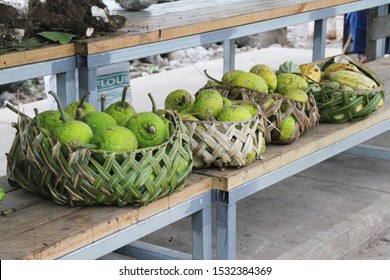Samoan using coconut leaves to weave a basket for carrying the agricultural product.