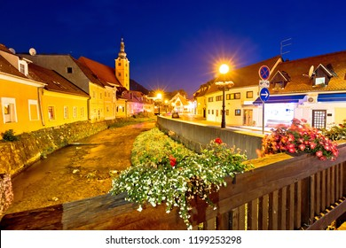 Samobor creek and old streets evening view, town in northern Croatia