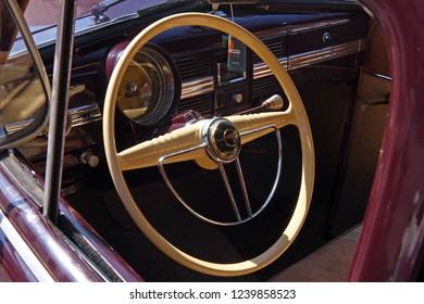 SAMOBOR, CROATIA – JULY 17, 2011: Cockpit of classic car, Opel Kapitan, ''14. Oldtimer Rally'' in Samobor, Croatia
