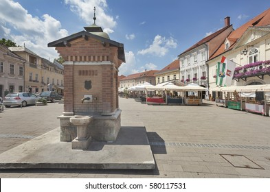 SAMOBOR, CROATIA - JUNE 23, 2013: Fountain and the main square in old town Samobor