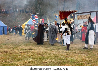 SAMOBOR, CROATIA - MARCH 7, 2010: Staging of a medieval battle at Samobor on March 1, 1441, Croatia