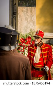 Samobor, Croatia, October 20, 2018. Honor guards lined up during celebration in town Samobor wearing traditional uniforms and hats