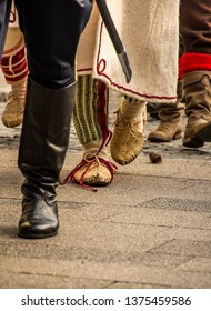 Samobor, Croatia, October 20, 2018. Honor guards marching the streets of Samobor town with flags and traditional uniforms and old traditional shoes