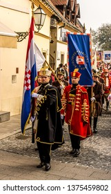 Samobor, Croatia, October 20, 2018. Honor guards marching the streets of Samobor town with flags and traditional uniforms