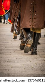 Samobor, Croatia, October 20, 2018. Honor guards marching the streets of Samobor town with flags and traditional uniforms and polished old boots