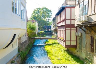 Samobor, Croatia-September 9, 2018: Bridges across the stream in Samobor