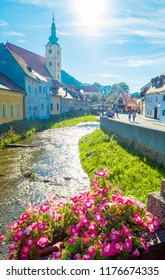 Samobor, Croatia-September 9, 2018: Catholic church and river in the center of Samobor, town in northern Croatia