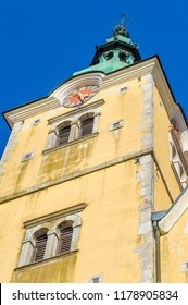 Samobor, Croatia-September 9, 2018: Catholic church in the center of Samobor, town in northern Croatia