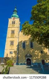 Samobor, Croatia-September 9, 2018: Scenic view at old colorful baroque church in Samobor town, croatian medieval landmarks.