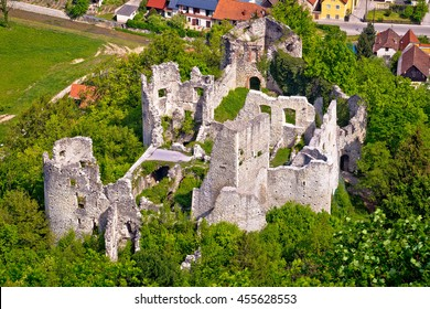 Samobor fortress ruins and landscape aerial view, northern Croatia