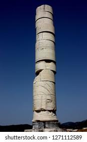 Samos, Greece - September 16th 2018: Column at the Heraion on Samos in the Aegean Islands