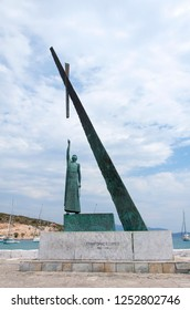 Samos Island, Greece - August 04, 2018 : Pythagoras the Samian at Pythagorion Port view in Samos Island. Samos Island is populer tourist destination in Greece