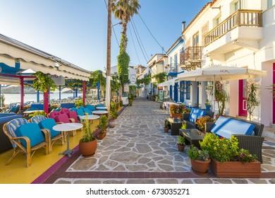 Samos Island, Greece - July 01, 2017 : Kokkari Village street view in Samos Island. Samos Island is populer tourist destination in Aegean Sea.