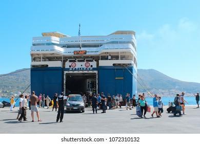Samos island, Greece - July 25, 2013 : Aegean sea and harbor view