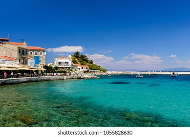 Samos island, Greece - May 23, 2017: the picturesque village of Kokkari with traditional houses. Kokkari village is a popular tourist place on the island of Samos.