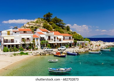 Samos island, Greece - May 23, 2017: the picturesque village of Kokkari with traditional houses and fishing boats. Kokkari village is a popular tourist place on the island of Samos.