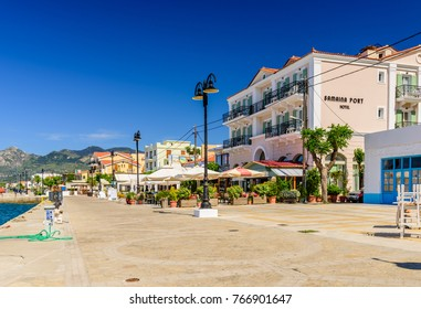 Samos island, Greece - May 24, 2017: the promenade in the centre of Karlovasi town, a popular tourist destination on the island of Samos