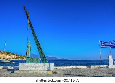 Samos Island, Greece, Pythagorion at the end of the harbor Pythagorian statue