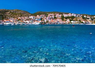 Samos island. Greece. Sea and pythagorion village background.