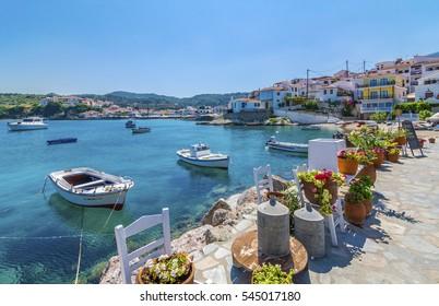 Samos Island, Greece - September 02, 2015 : Kokkari Village beach view. Kokkari Village is populer tourist destination in Samos Island.