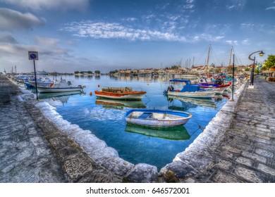 Samos Island, Greece - September 02, 2015 : Pythagoreio Harbour view. Pythagoreio is the most popular village in Samos Island.
