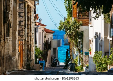 Samos island, Greece - September 12, 2017: Beautiful old street in Kokkari on Samos Island in Greece